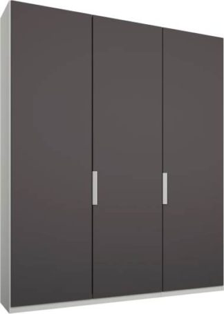 An Image of Caren 3 door 150cm Hinged Wardrobe, White Frame, Matt Graphite Grey Doors, Classic Interior