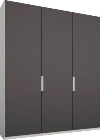 An Image of Caren 3 door 150cm Hinged Wardrobe, White Frame, Matt Graphite Grey Doors, Standard Interior