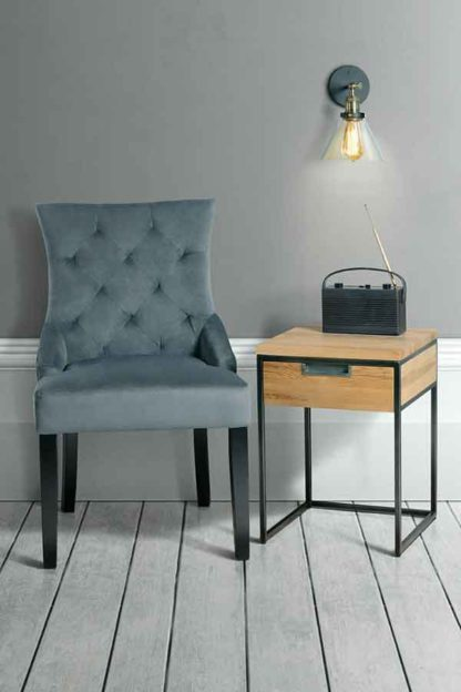 An Image of Qubix Industrial Side Table - Solid oak and steel