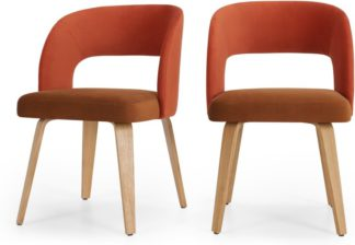 An Image of Set of 2 Enid Dining Chairs, Burnt Orange & Golden Tan Velvet