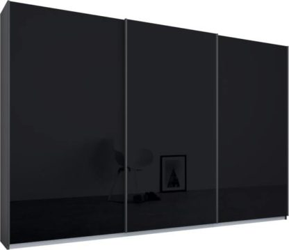 An Image of Malix 3 door 270cm Sliding Wardrobe, Graphite Grey frame,Basalt Grey Glass doors , Premium Interior