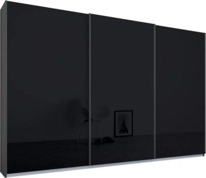 An Image of Malix 3 door 270cm Sliding Wardrobe, Graphite Grey frame,Basalt Grey Glass doors, Standard Interior