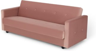An Image of Chou Click Clack Sofa Bed with Storage, Velvet Vintage Pink