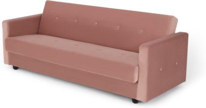 An Image of Chou Click Clack Sofa Bed with Storage, Velvet Vintage Pink