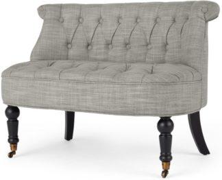 An Image of Bouji Love Seat, Grey Linen Mix