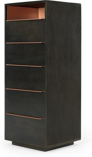 An Image of Anderson Tall Chest of Drawers, Mocha & Copper