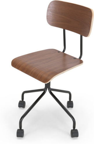 An Image of Haywood Swivel Office Chair, Walnut and Black