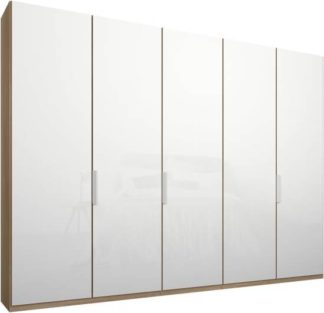 An Image of Caren 5 door 250cm Hinged Wardrobe, Oak Frame, White Glass Doors, Standard Interior