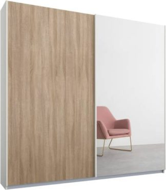 An Image of Malix 2 door 181cm Sliding Wardrobe, White frame,Oak & Mirror doors , Classic Interior