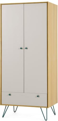 An Image of Dotty Double Wardrobe, Oak & Grey