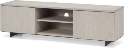 An Image of Claus Wide TV Stand, Grey Concrete and Light Oak