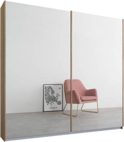 An Image of Malix 2 door 181cm Sliding Wardrobe, Oak frame,Mirror doors, Standard Interior