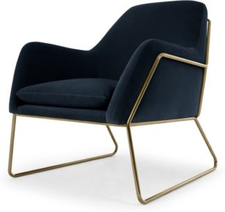 An Image of Frame Armchair, Navy Cotton Velvet