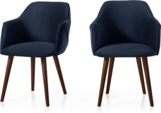 An Image of Set of 2 Lule Carver Dining Chairs, Royal Blue Velvet and Walnut