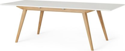 An Image of Aveiro 6-8 Seat Extending Dining Table, Natural Oak and White