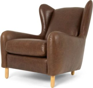 An Image of Rubens Wingback Armchair, Cuba Brown Leather