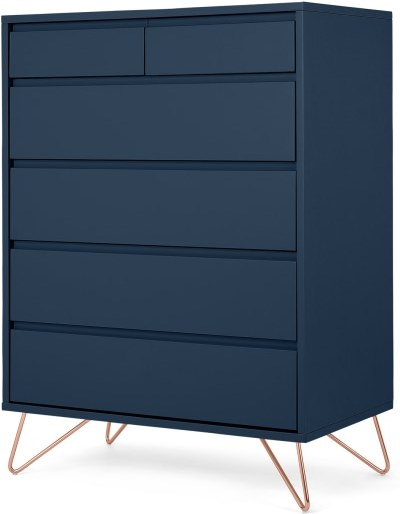 An Image of Elona Tall Multi Chest of Drawers, Blue & Copper Legs