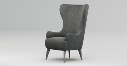 An Image of Custom MADE Bodil Accent Chair, Smart Grey with Light Wood Leg