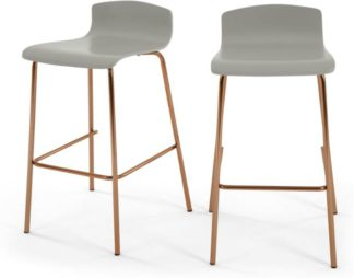 An Image of Set of 2 Syrus Barstools, Grey and Copper