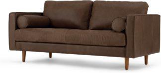 An Image of Scott Large 2 Seater Sofa, Charm Mocha Premium Leather