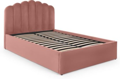 An Image of Delia King Size Bed Ottoman Storage, Blush Pink Velvet