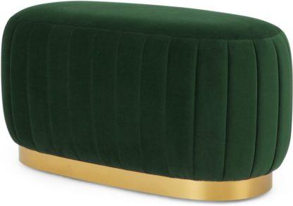 An Image of Adie Oblong Brass Base Pouffe, Pine Green Velvet