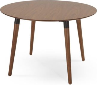An Image of Edelweiss 4 Seat Round Dining Table, Walnut and Black