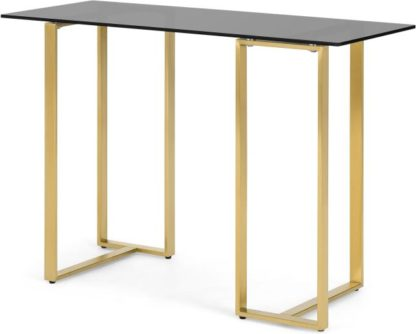 An Image of Saffie Console Desk, Brass & Smoked Glass