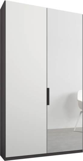 An Image of Caren 2 door 100cm Hinged Wardrobe, Graphite Grey Frame, Matt White & Mirror Doors, Premium Interior