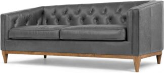 An Image of Rogers 3 Seater Sofa, Oxford Grey Premium Leather
