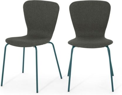 An Image of Set of 2 Luno Dining Chairs, Grey and Teal