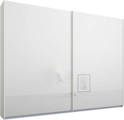 An Image of Malix 2 door 225cm Sliding Wardrobe, White frame,White Glass doors, Standard Interior