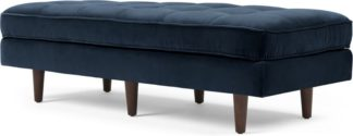 An Image of Scott Ottoman Bench, Navy Cotton Velvet