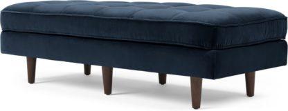 An Image of Scott Ottoman Bench, Navy Cotton Velvet