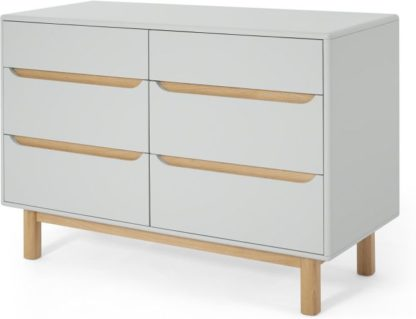 An Image of Jayden Wide Chest Of Drawers, Grey & Oak