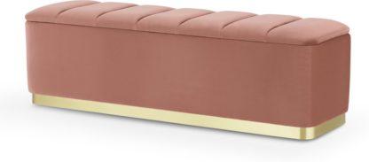 An Image of Verna Ottoman Bench, Blush Pink Velvet & Brass