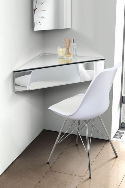 An Image of Inga Corner Mirrored Floating Bedside / Shelf / Storage System