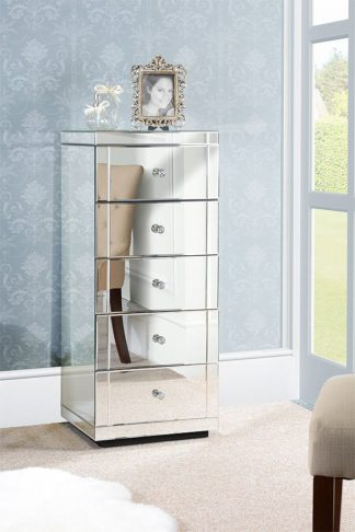 An Image of JULIANNA Mirrored Tallboy Chest with 5 Drawers and Plinth