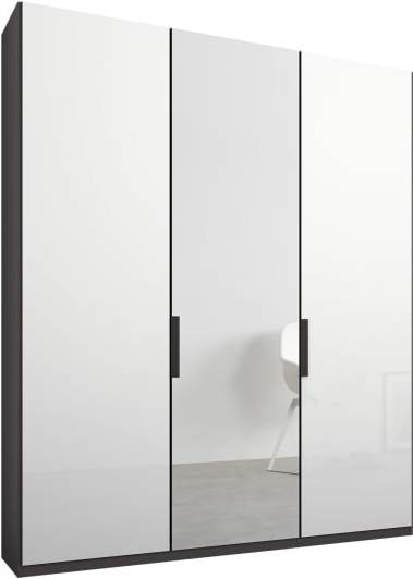 An Image of Caren 3 door 150cm Hinged Wardrobe, Graphite Grey Frame, White Glass & Mirror Doors, Classic Interior