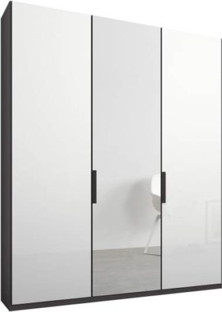 An Image of Caren 3 door 150cm Hinged Wardrobe, Graphite Grey Frame, White Glass & Mirror Doors, Premium Interior