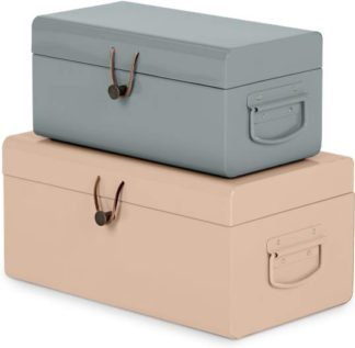 An Image of Daven Small Set of 2 Metal Storage Trunks, Pink and Grey