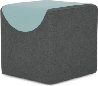An Image of MADE Essentials Macy Table Tray Pouffe, Marl Grey & Aqua