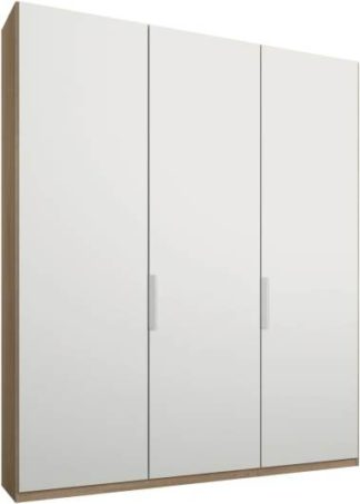 An Image of Caren 3 door 150cm Hinged Wardrobe, Oak Frame, Matt White Doors, Standard Interior