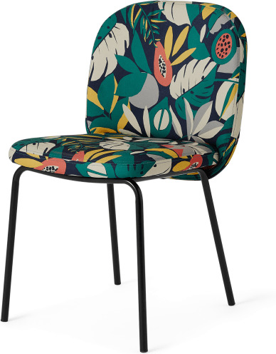An Image of Safia Dining Chair, Curator Print & Black Legs