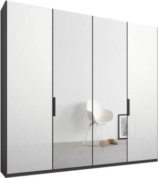 An Image of Caren 4 door 200cm Hinged Wardrobe, Graphite Grey Frame, White Glass & Mirror Doors, Standard Interior