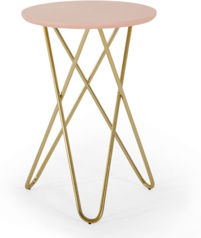 An Image of Eibar Side Table, Pink and Brass