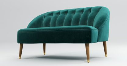 An Image of Custom MADE Margot 2 Seater Sofa, Peacock Blue Velvet with Light Wood Brass Leg