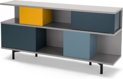An Image of Fowler Low Shelving Unit, Multicolour