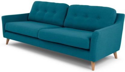 An Image of Rufus 3 Seater Sofa, Rich Azure