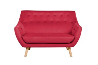 An Image of Poet Sofa, Luxor Cranberry Single Tone